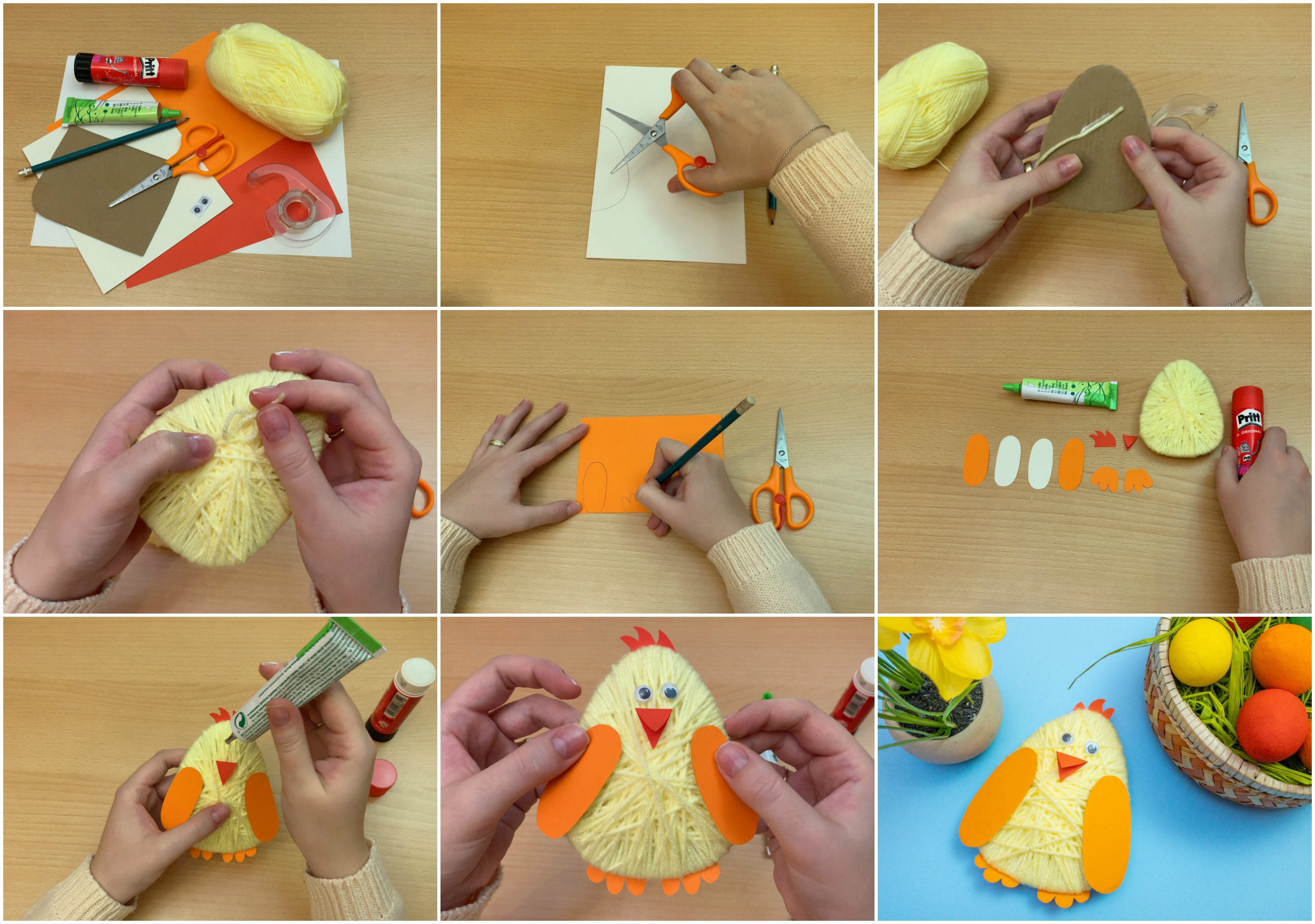 Kids Easter Chick Yarn Craft