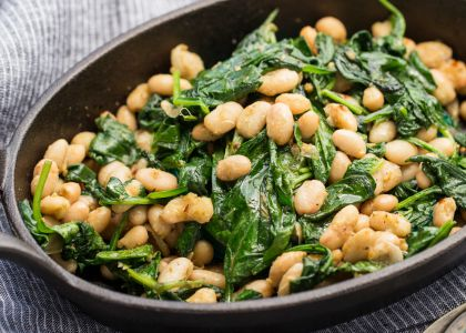 Spinach and beans in skillet