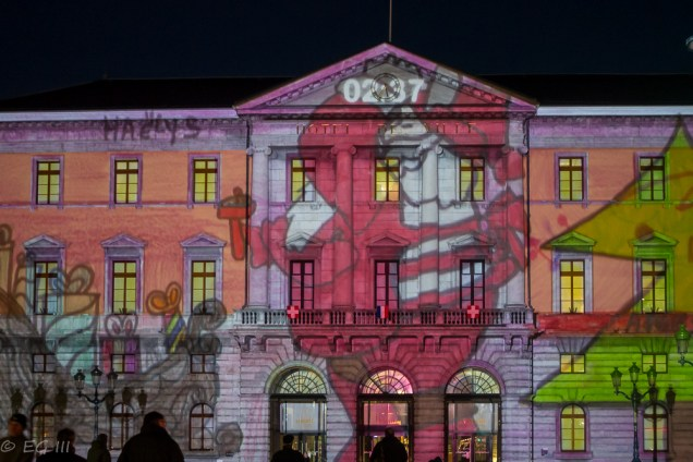 Light show projection on town hall