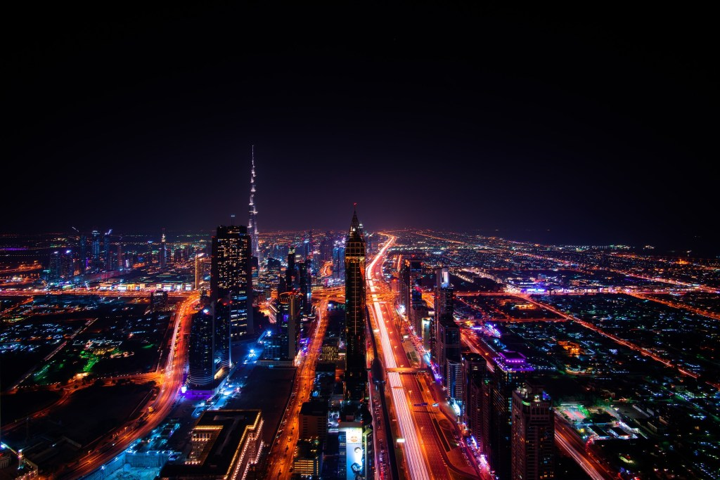 The bright lights of Dubai illuminate the city no matter what the season