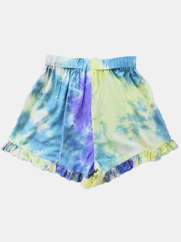 Tie Dye Lettuce Trim Casual Shorts