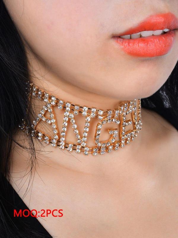 shestar wholesale crystal angel letter necklace