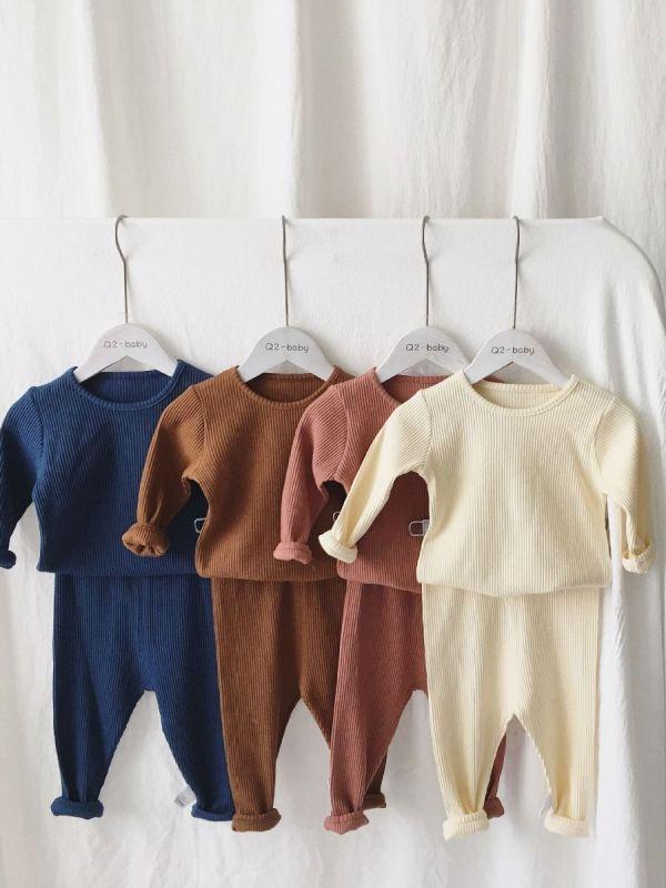 2-Piece Baby Toddler Kids Plain Color Ribbed Nightwear Set