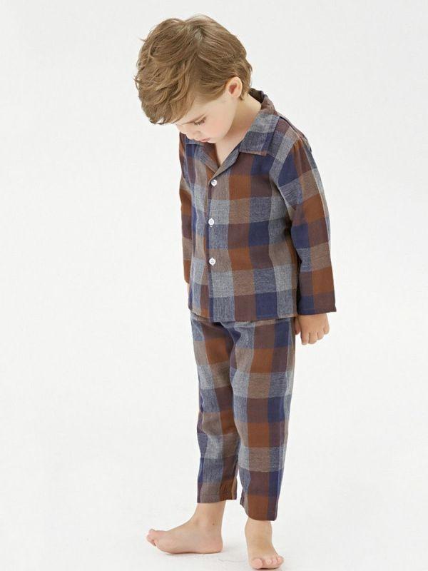 2 Pieces Toddler Plaid Pajamas Set Top & Trousers