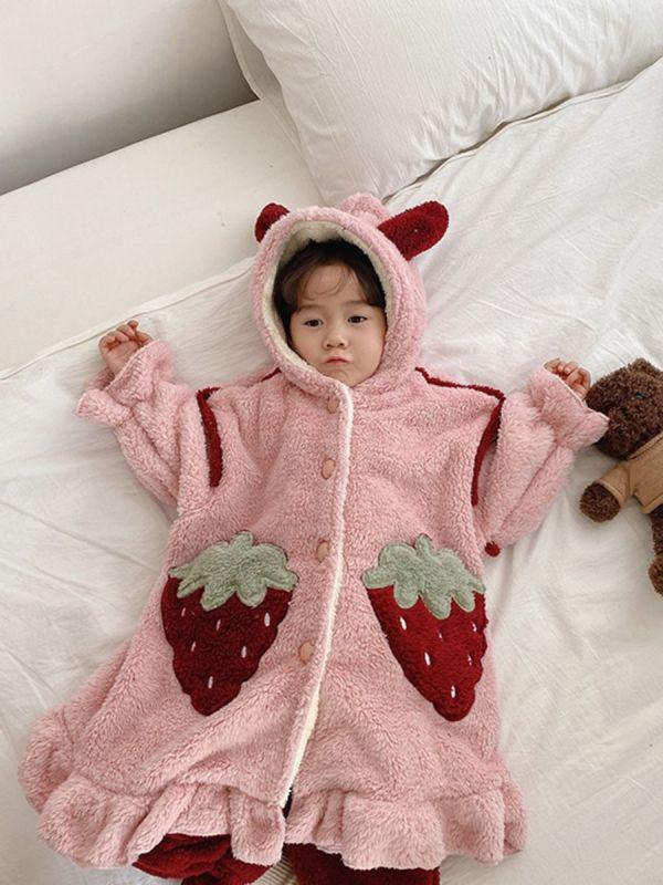 2 Pieces Kid Girl Fleece Nightwear Strawberry Set Hoodie & Pants