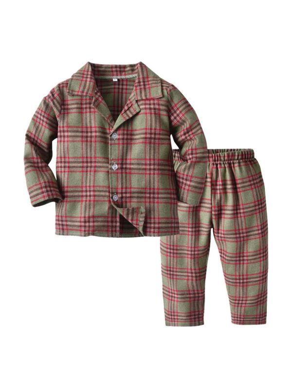 2 Pieces Kid Boy Plaid Loungewear Set Top & Trousers