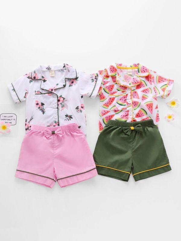 2 Pieces Kid Girl Loungewear Set Floral Watermelon Top & Shorts