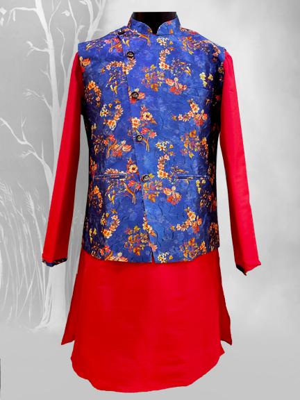 RED KURTA WITH BLUE FLORAL JACKET- kurta pajama with jacket for wedding