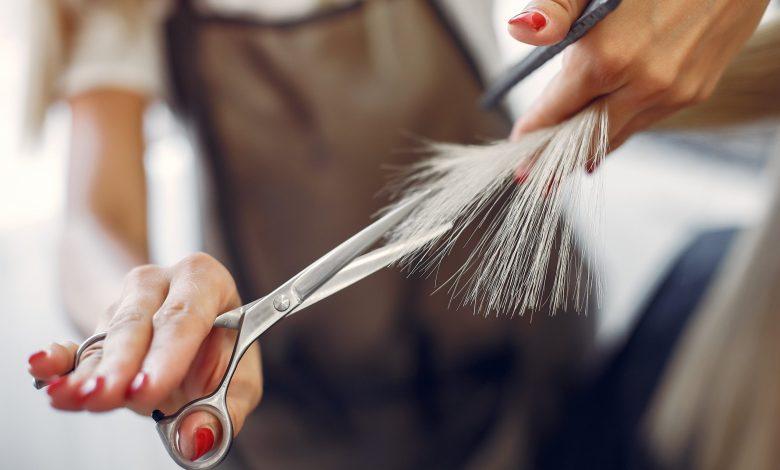 Hairdresser cutting a gray hair