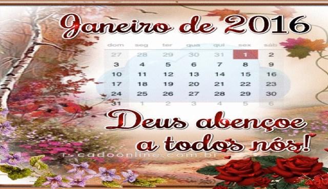 Calendário – Janeiro 2016