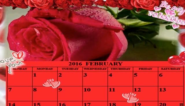 Calendário de Fevereiro de 2016