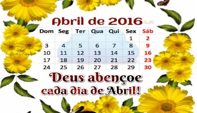 Calendário de Abril de 2016