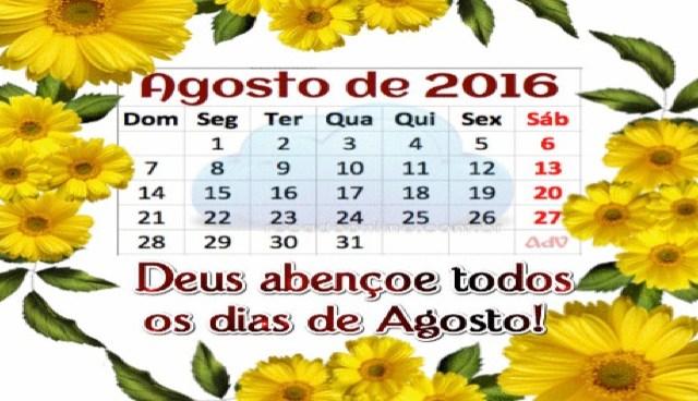 Calendário de Agosto de 2016