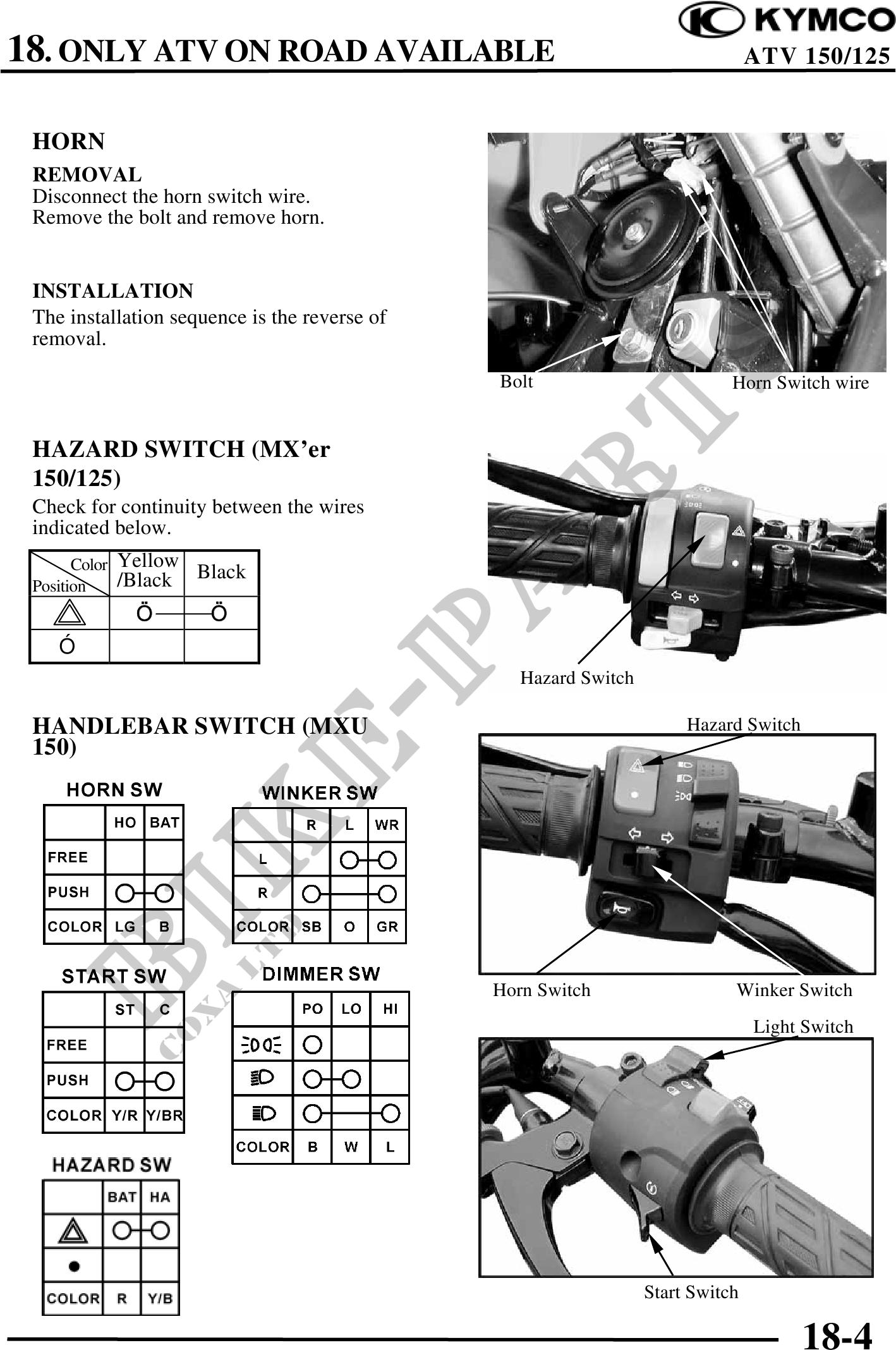 Kymco Dink 150 Service Manual