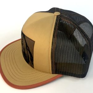Side view of Tan/Brown Foam Front Bison Print hat