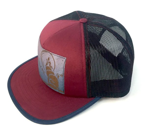 Side View of Berry Red Foam Front Howling Wolf Print