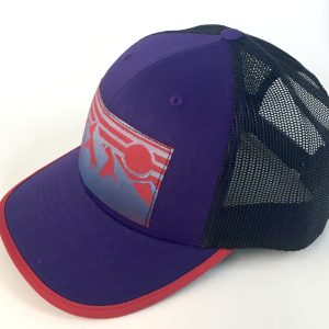 Side view of Purple Cotton Front with Mountain Print hat