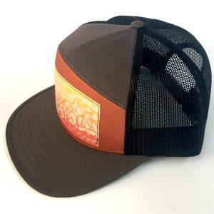 Side view of Brown 7 Panel Yosemite Print hat