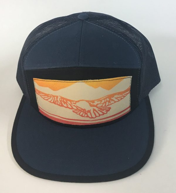 Front view of Navy Blue and Black 7 Panel Soaring Eagle print hat