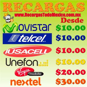 imagen de venta de saldo telcel, movistar, iusacell, unefon y nextel