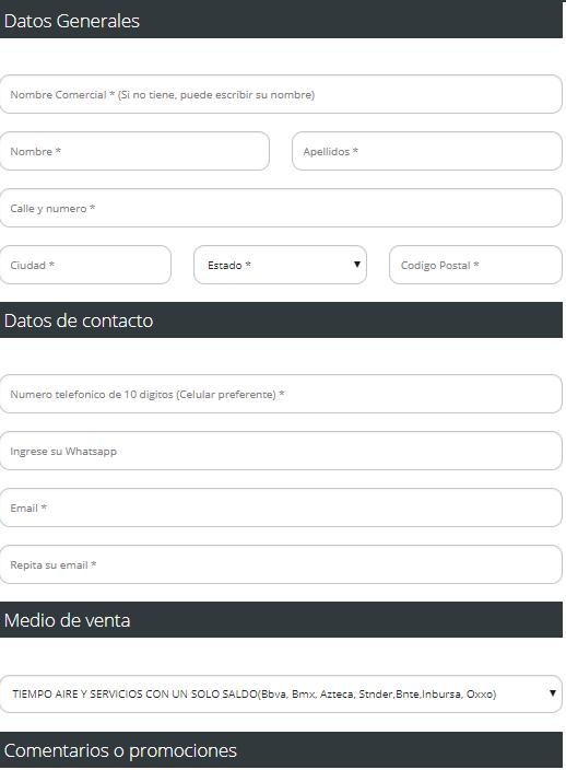 registro para vender recargas electronicas