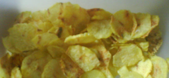 Batata Chips no Micro-Ondas