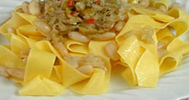Receita de Salada de pappardelle com aliche - Como fazer Massa Artesanal de Fettuccine com Caponata