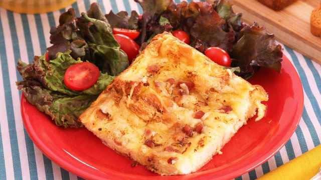 Torta Fácil de Torrada com Bacon e Queijo - Pão Salgado de Abóbora e Queijo Muçarela