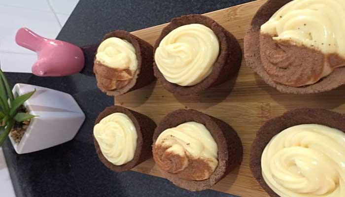 Tortinha de Chocolate com Mousse de Chocolate Branco