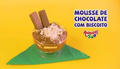 Mousse de Chocolate com Biscoito Animados Zoo
