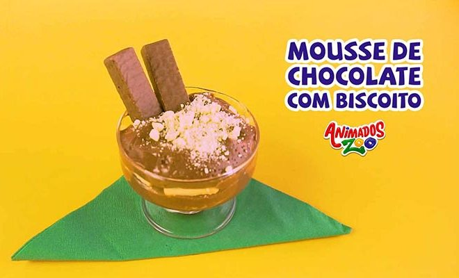 Mousse de Chocolate com Biscoito Animados Zoo