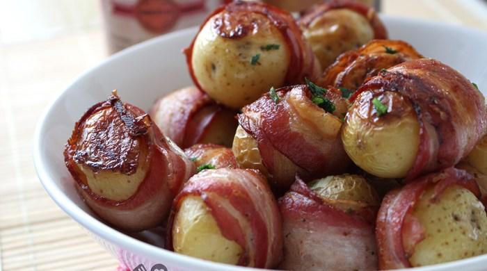 Batata enrolada com bacon