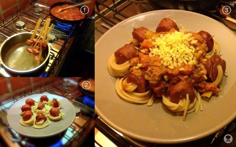 Spaghetti rookworst rolletjes me