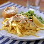 Pasta med lax i senapsås
