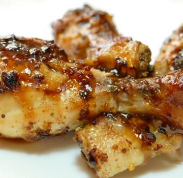 Pollo asado a la miel y mostaza
