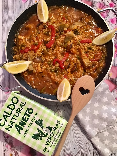 receta vegana de arroz caldoso con Aneto