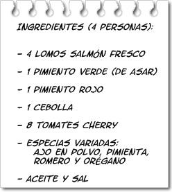 Ingredientes Brocheta de Salmón