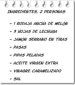 Ingredientes Ensalada de Melón con Jamón