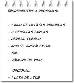Ingredientes Papas Aliñásl