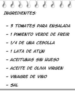 Ingredientes Picadillo de Tomates (Piriñaca)