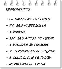 Ingredientes Tarta de Queso