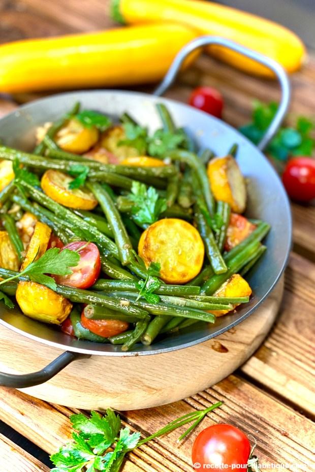 poelée haricots verts tomates courgette