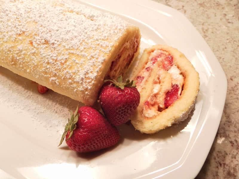 Gâteau Roulé aux fraises thermomix