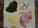 emmental, épinards cuits, échalotes, feta, jambon