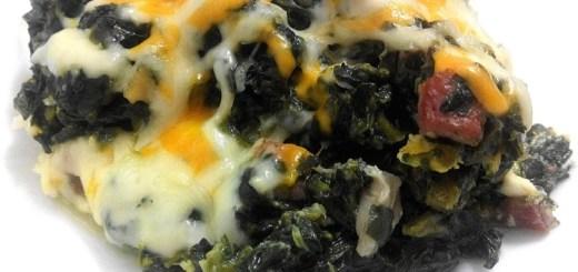Revuelto de espinacas, setas y jamón ibérico gratinado a 4 quesos