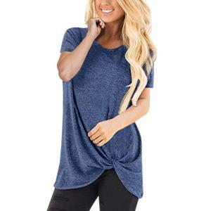 Hawkimin_Damen Tops – T-Shirt – Col Rond – Femme – Bleu – L