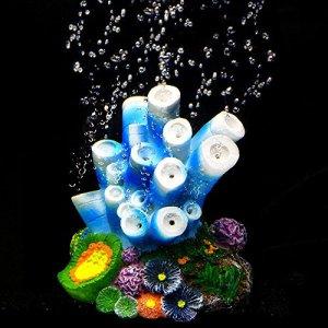 SLOME Décoration pour Aquarium Corail – Bulle d'air Corail nacré Pompe à oxygène en résine pour Aquarium Décoration d'aquarium
