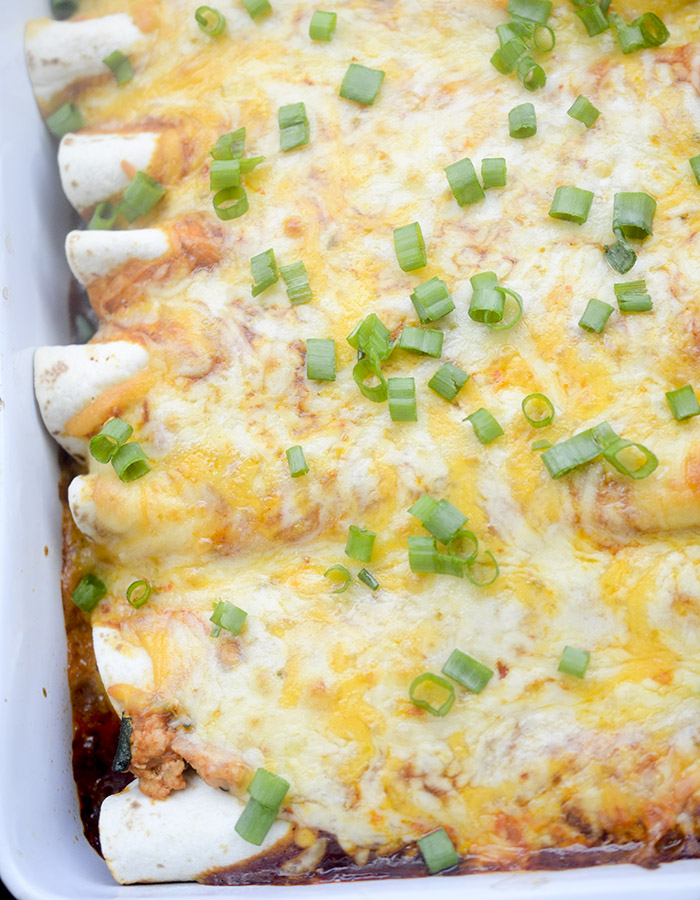 Healthy Baked Turkey Enchiladas Recipe via Recipe Diaries