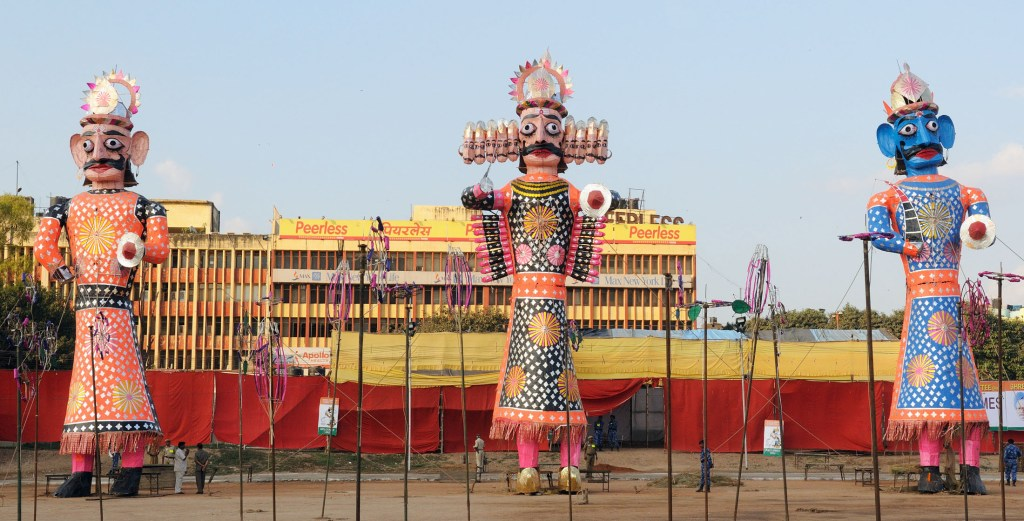 The Ravana, Kumbhakarna and Meghanada effigies before flaming, at the Dussehra celebrations, at Ramleela Maidan Photo Credit: public.resource.org via Compfight cc