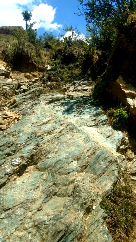 These awesome green rock sheets that we descended